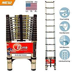 [Best Seller] Euro Telescopic Aluminium ladder 3.8 mtr (13 feet) - Stores at 2.9 feet - Made in USA - Ultra Portable