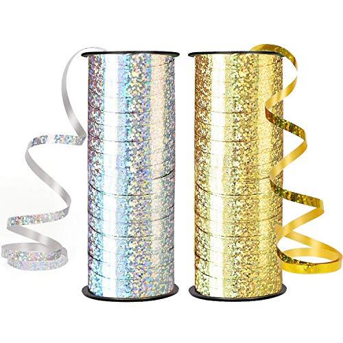 Alledomain - Lote de 2 cintas para globos, 91 m, cinta de rizo, cinta metálica, para fiestas, festivales, floristas, manualidades y regalos (dorado y plateado)
