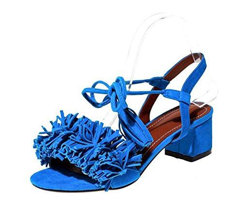 GLTER Donna pompa cinghia donna 2017 Estate Sandali romanzesco Mid Sandali Charming New Suede Light Blue