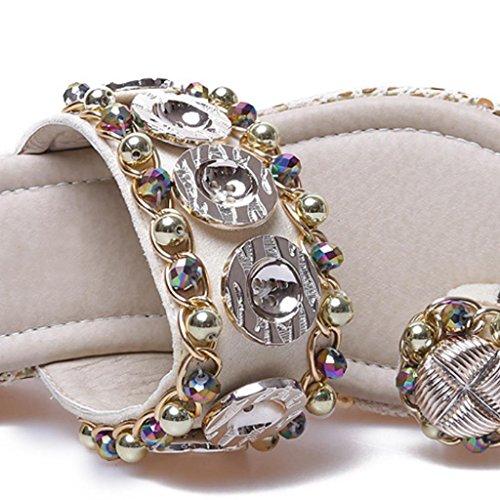 Flip Flop Sandali da donna Beach Wedges Piattaforma Perizoma Crystal Stones di Bling Stile Gold