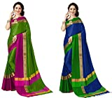 #1: Art Décor Sarees Women's Pack of 2 Sarees Cotton Silk Saree With Blouse (Pack of Two Sari) - More Then 50 Colors