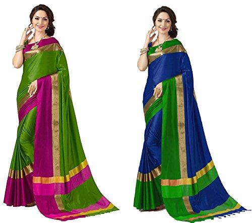 Art Decor Sarees Women's Cotton Silk Designer Saree With Blouse - Combo...