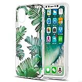 Eouine Coque iPhone XS, Coque iPhone X, Etui en Silicone 3D Transparente avec Motif Peinture [Anti Choc] Housse de Protection Coque pour Téléphone Apple iPhone XS/X - 5,8 Pouces (Feuilles)