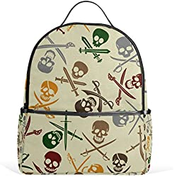 COOSUN Escuela de los cráneos del pirata Mochila Ligera bolsa de mano libro para niños chicos chicas Multi