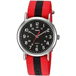 Timex Weekender Red/Black Stripe Nylon Slip-Thru Strap Watch