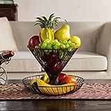 HLCUI Countertop Obstkorb Stand 2-Tier Metall Antik Wohnzimmer Couchtisch Lagerung Kreative Mode Obstteller,D