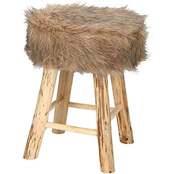 Fell Für Stuhl hocker fellhocker kunstfell fußhocker sitzhocker felloptik stuhl