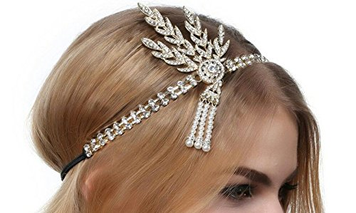 TOOKY Art Deco Wedding Tiara Headpiece pearl Headband