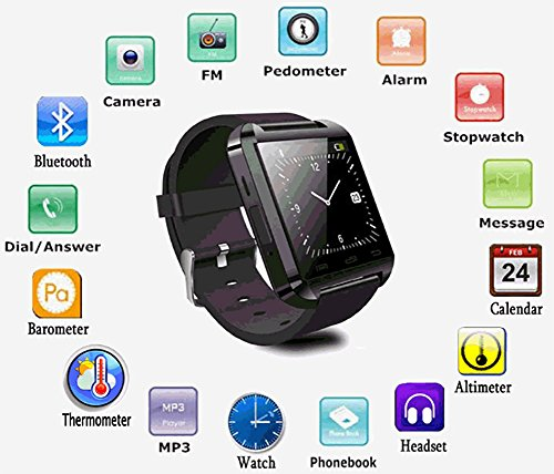 Evana (get free TTL/Trusttel Branded mobile pouch) Smart Android U8 Bracelet U Watch and Activity Wristband, Wireless Bluetooth Connectivity Pedometer, Compatible with I phone and All Android Devices (black)