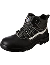 Allen Cooper AC-1426 High Ankle Heat Resistant Safety Shoe, PU NR Sole, Black, Size 6
