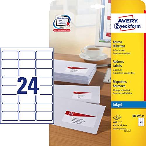 AVERY Zweckform J8159-25 Adress-Etiketten (Papier matt, 600 Stück, 63,5 x 33,9 mm, 25 Blatt) weiß