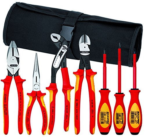 Knipex 989826us 7-teilig isoliert 1000V Hohe Hebelwirkung Zange, Schere, und Schraubendreher kommerziellen Werkzeug Set