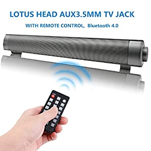 Soundbar, TV Sound Bar Wired and Wireless Bluetooth Audio QSPORTPEAK ( 40 Watt 32 Inch Sound Bar with 2 Bass Reflex Tubes, 4 Speakers, Remote Control and Wall Mountable )