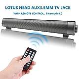 Bluetooth 4.0 SoundBar Altoparlanti Bluetooth con Subwoofer con Telecomando, Barra audio TV con indicatore a LED e Aux TF da 3,5 mm, altoparlante stereo da 10 W con Clear Treble e Microfono incorporato,Nero