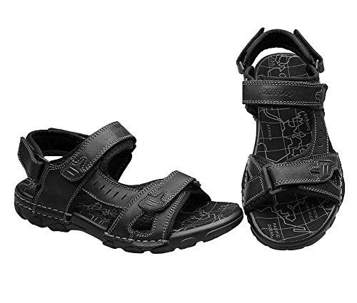 Genda 2Archer Sandales pour hommes Sandales de plage d'été Sandales de velcro Noir