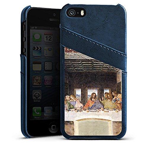 Apple iPhone 5 Housse Étui Silicone Coque Protection Léonard de Vinci La Cène Art Étui en cuir bleu marine