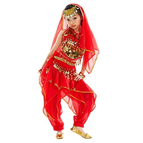 r Mädchen Bauchtanz Kostüme Set Das Obere Top+ Pluderhosen Tanzkleid Halloween Karneval Darbietungen Tanzkostüme Rot (7PC) S (Indischen Mann Halloween Kostüm)