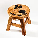Robuster Kinderhocker/Kinderstuhl massiv aus Holz mit Tiermotiv Elefant, 25 cm Sitzhöhe