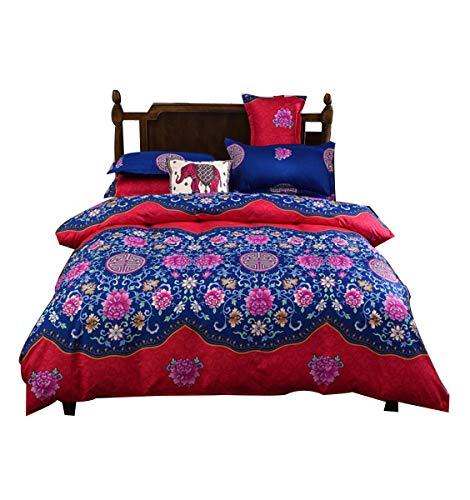 RAPIDLY Blumen Bettbezug-Set Active Druck Polyester Floral Boho Bettwäsche-Sets Tröster-Cover-Set Active Druck Polyester -