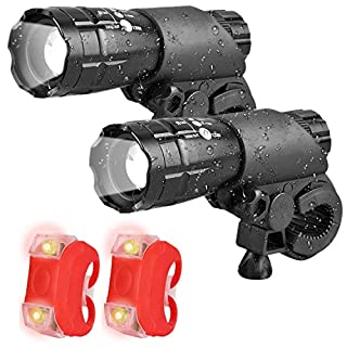 Double Bike Lights Set, Super Front and Rear Bicycle Light Set 3 Light Modes, Cycle Lights, 300lm, Water Resistant, Easy to Mount Headlight front bike light with Back Tail lights