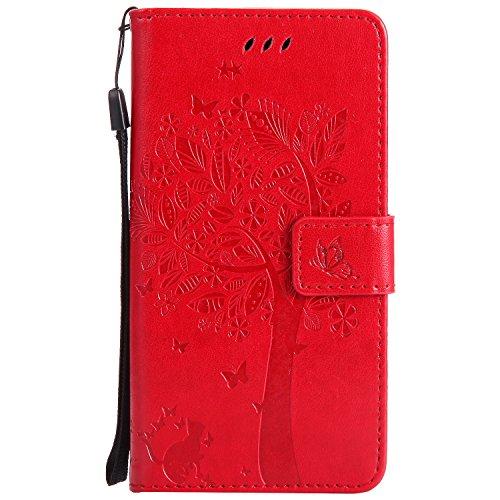 Chreey Motorola Moto G5 Plus Hülle, Prägung [Katze Baum] Muster PU Leder Hülle Flip Case Wallet Cover mit Kartenschlitz Handyhülle Etui Schutztasche [Rot]