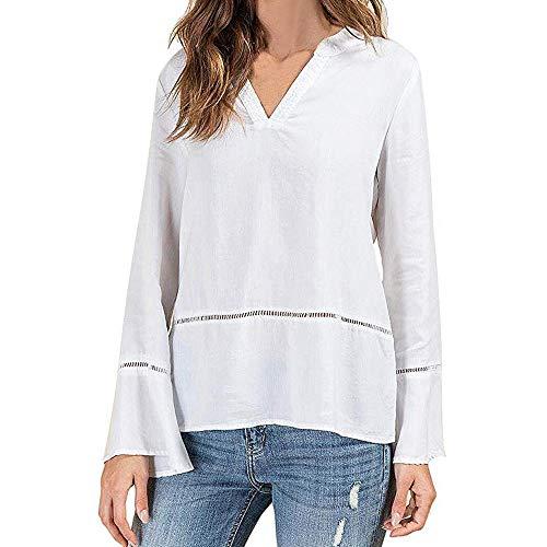 OSYARD Damen T-Shirt Pullover Sweatshirt Oberseiten, Frauen Strickpullover Pulli Casual V-Ausschnitt Lange Aufflackernhülse Feste Bluse Tunika Elegant Bördelhülse Top Hemd Kleidung(M, Weiß) -