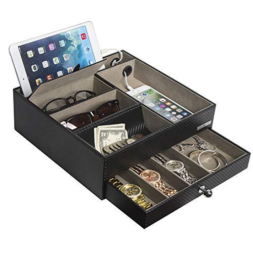 JackCubeDesign Multifunktionaler Nachttisch Schwarz Leder Schmuck Box Fangen Alle Valet Tray Organizer Aufbewahrungskoffer Tablett mit Schublade und Ladeloch (Schwarz, 28 x 27 x 8,9 cm) -: MK389A