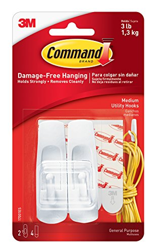 Command Medium Hooks-White 2 Hooks & 4 Strips