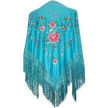 La Señorita Mantones bordados Flamenco Manton de Manila azul turquesa con  flores 9f99a121f9d