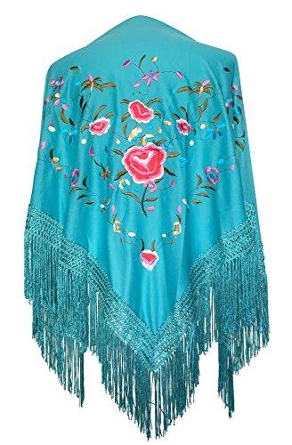 La Señorita Mantones bordados Flamenco Manton de Manila azul turquesa con flores