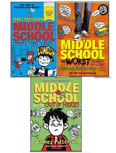 James Patterson Middle School Collection 3 Books Set, (Middle School the Worst Years of My Life, Middle School How I Got Lost In London and Middle School: Get Me Out of Here)