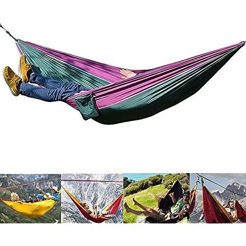 Cooling Hamaca de Doble Paracaídas Portátil Nylon Resistencia hasta 300kg para Playas, Viaje, Jardín, Aire Libre, Casa (Verde y Morado)