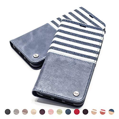 QIOTTI Hülle Kompatibel mit iPhone 6s Plus I iPhone 6 Plus Ledertasche aus Hochwertigem Leder RFID NFC Schutz mit Kartenfach Standfunktion in Blau - Telefonieren 6 Iphone Plus
