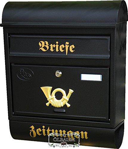 Wandbriefkasten,NEU Briefkasten, Premium-Qualität aus Stahl, verzinkt, pulverbeschichtet R XXL anthrazit schwarz gold mit Zeitungsrolle fertig montiert Postkasten Post