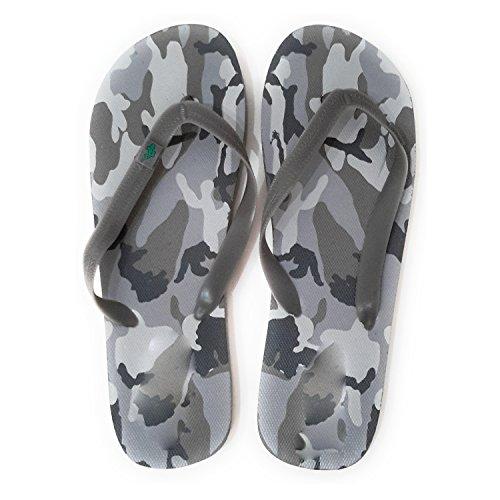 BRANDELIA Flip Flops Herren Dusch Badeschuhe und Sommer Strandschuhe, Angenehm zu Tragen. Verschiedene Modelle und Farben Tarnfarbe Grau