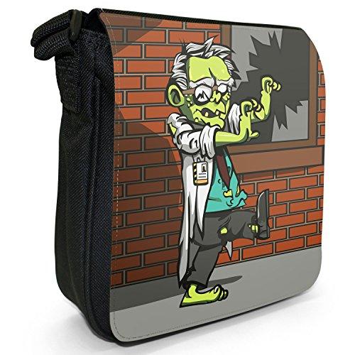 Wissenschaftler Zombie Kleine Schultertasche aus schwarzem Canvas