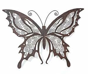 Boltze décoration murale en forme de décoration murale papillon en métal brun rouille-b70cm aglia **