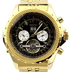 Orkina Gold Color Case Black Chronograph Skeleton Dial Stainless Steel Wrist Watch KC082SGB