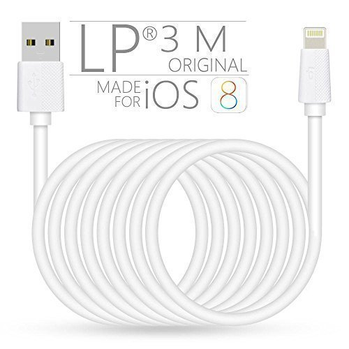 [Certificación Apple MFI] LP®Apple Lightning a USB Micro Cable, de Conexión, Conector, Cargador, Cable de Carga y Sincronización con USB 2.0 (9.8 Pies/3M, 8 pin, 2.4A Salidad de Corriente), Extra longitud, Super largo, Compatible con iPhone 6s/6/6Plus/5s/5c/5, Cable de Datos Micros USB para iPad 4/Air/Mini/Pro,iPod Touch5/Nano7yetc,Blanco