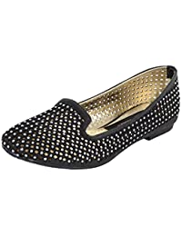 Smitten Formals & Lace-Up Flats For Women ( Black )