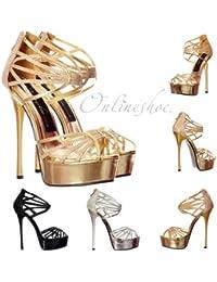 Pío Brillo Plataforma Gladiador Strappy Partido Zapato El Pump Onlineshoe  Femenina 579bb56f8bf5