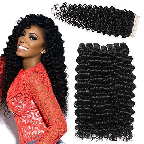 La capelli umani capelli brasiliani vergini liscio capelli ricci in profondità 3 fasci con chiusura extension tessitura capelli veri 55 60 65+50 cm