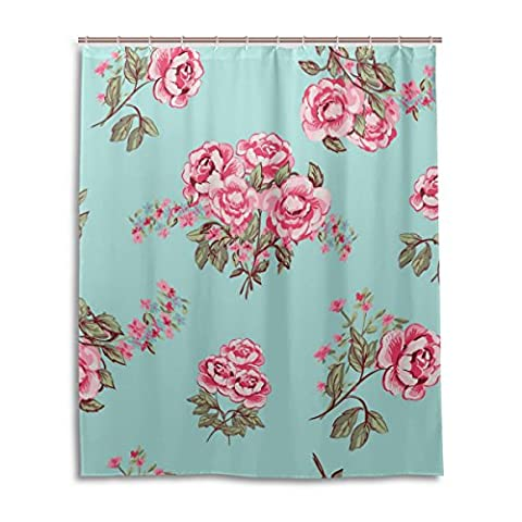 Bath Shower Curtain 60x72 Inch,Shabby Chic Pink Floral,Mildew Proof Polyester Fabric Bathroom