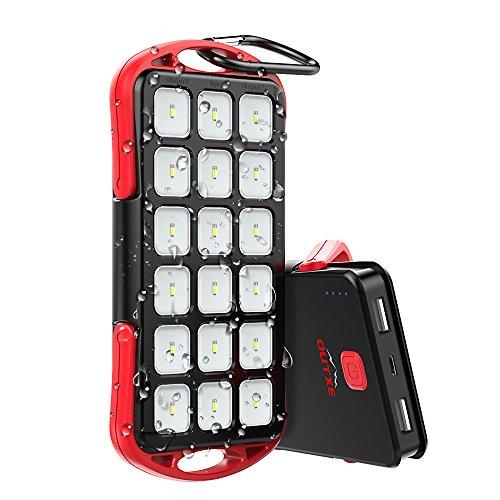 OUTXE Water-Resistente IP54 6000mAh Portatile Power Bank con Torcia Integrata da 18 LED da 200 lm e Impermeabile per Campeggio ed Escursioni (Rosso)