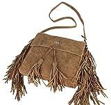 ital-Design Fransen Damentasche Schultertasche Umhängetasche Tasche Beutel Beuteltasche Trend-Bags PU Wildleder