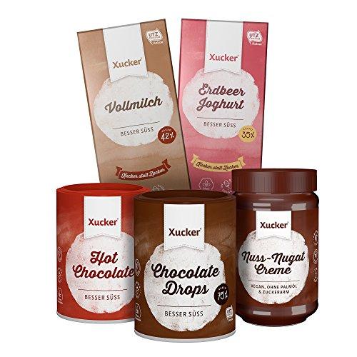 Xucker Genießer-Schokoladen-Set 900 g - aus Produkten ohne zugesetzten Zucker: 1x 100g Edel-Vollmilchschokolade, 1x 100g Weiße Erdbeer-Joghurt-Schokolade, 1x 200g Trinkschokolade, 1x 200g Edelbitter-Schokodrops, 1x 300g Nuss-Nugat-Creme mit Xylit ohne Palmöl
