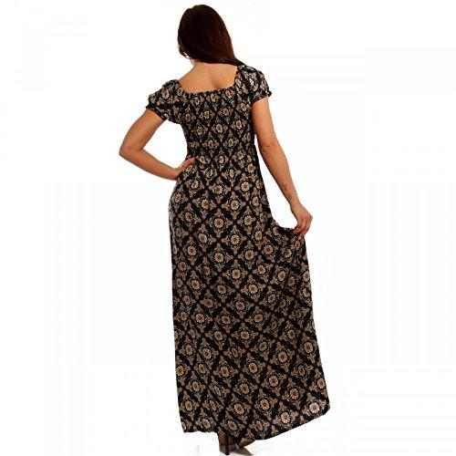 Damen Maxikleid Kleid Carmen Ausschnitt Kleid Lang Mehrfarbig/Model1
