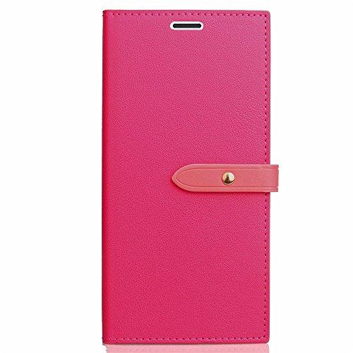 EKINHUI Case Cover Business Style Mixed Farben Slim Design PU Ledertasche Brieftasche Stand Case [Shockproof] mit Niet Echt Leder Gürtel & Kickstand & Card Slots für iPhone 5s & SE ( Color : Black ) Rose