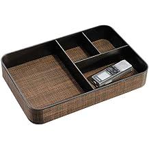 InterDesign Twillo Vassoio, Diviso, 4 Scomparti Larghi, Plastica, Marrone, 0.1x0.1x0.1 cm