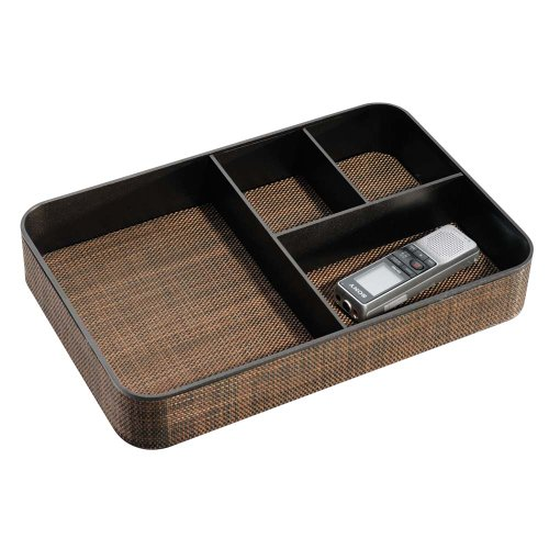 InterDesign Twillo 4-Section Stacking Divided Tray, Large, Bronze